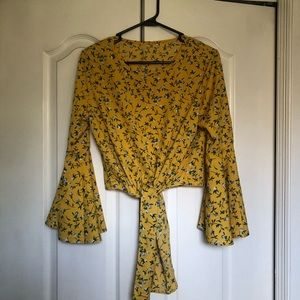 Gold floral cropped tie blouse